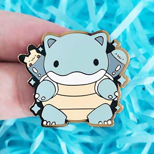 YANGYUE Pin de Esmalte Duro de Tortuga de Agua Kawaii, Broche de Medalla de Animal de Tortuga Marina de Elfo de Dibujos Animados Lindo, Mochila, Regalos de joyería para fanáticos de los Videojuegos