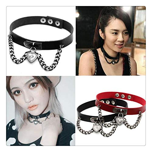 Z-one 1 2pcs Set Love Herat Jewelry Collar de cuero Sexy Soft PU Leather Choker Necklace Accesorios