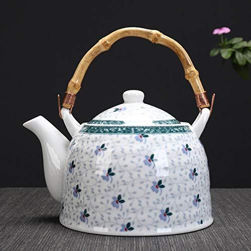 Hohe Kapazität 950 ml Traditionelle chinesische Art Keramik Teekanne Bambusgriff China Porzellan Große Teekanne Kessel H070