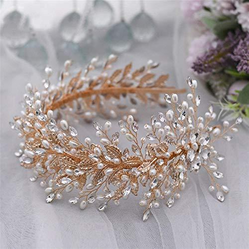 Multa Lujo Hecho a Mano Rhinestone Crystal Pearl Tocado Tocado Diadema Crown Crown Damas Accesorios for el Cabello Joyería para Mujeres y niñas (Metal Color : Gold)