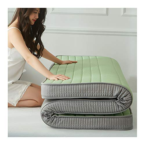 ZXLLAFT Foldable Latex Mattress Memory Foam Sleeping Pad Tatami Floor Mat Thick Non-slip Mattress Toppers, Guest Bed 6cm(2.36in),Green,1 * 2m(3.2 * 6.5ft)