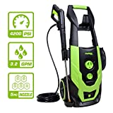 PowRyte Elite 4200PSI 3.2GPM Electric Pressure Washer, Electric Power Washer with 5 Quick-Connect Spray Tips,Car Washer with On Board Bottle Tank