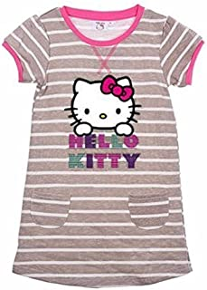 11ba0aa483999 Hello Kitty Filles Robe Manches Courtes Rayures Grises