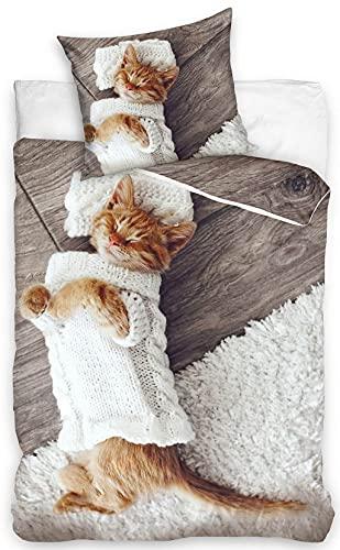 Best Friends - Juego de cama (funda nórdica de 140 x 200 cm y funda de almohada de 70 x 90 cm, 100% algodón, para cama individual)