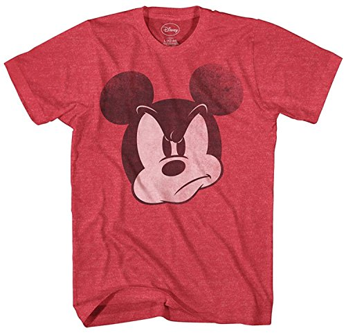 Mad Mickey Mouse Graphic Tee Classic Vintage Disneyland World Mens Adult T-shirt Apparel (X-Large, Heather Red)