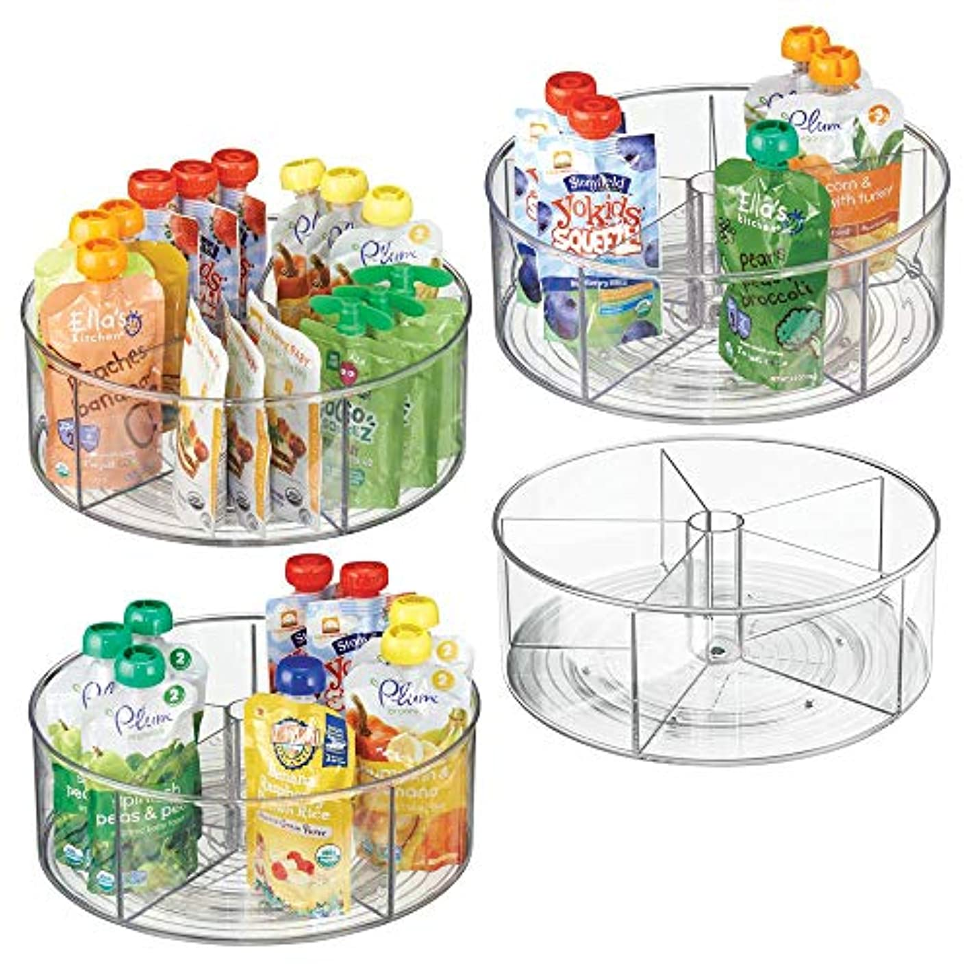 mDesign Divided Lazy Susan Turntable Storage Container for Kitchen Cabinet, Pantry, Refrigerator, Countertop - BPA Free, Food Safe - Spinning Organizer for Kids/Toddlers - 5 Sections, 4 Pack - Clear