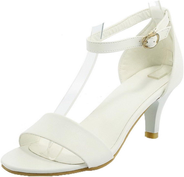 AmoonyFashion Women's PU Buckle Open-Toe High-Heels Solid Sandals, BUTLT005906
