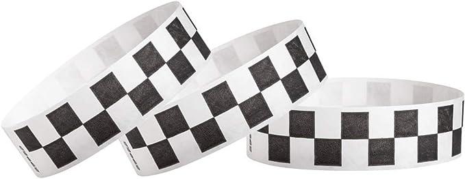 500 x 1 Inch Blue Checker Tyvek Wristbands