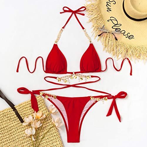 RIQWOUQT Conjunto Lencería Sexy para Mujer Conjunto De Lencería Roja Bikini De Diamantes De Imitación Sexy Traje De Baño Mujeres Top De Tubo Conjunto De Bikini Mujer Push Ups Ropa De Playa De Ver