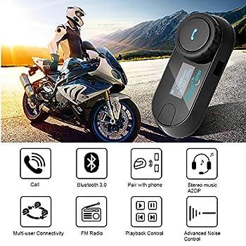 Motorcycle Bluetooth Headset, FreedConn TCOM-SC Motorcycle Bluetooth Communication Systems Helmet Intercom with Changeable Hard/Soft Mic Cord (LCD Screen/FM Radio/Handsfree/800M/ 2-3Riders)