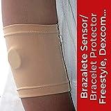 Abbott Freestyle Libre - Dexcom G4 G5 G6 - Guardian Sensor - Medtrum - Omnipod - Brazalete Protector Sensor de Glucosa - Flexible Comodo Reutilizable Elastico y Facil de usar - Carne - Talla 30 cm