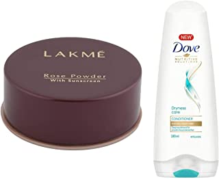 Lakme Rose Face Powder, Warm Pink, 40g & Dove Dryness Care Conditioner, 180ml