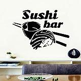 Sushi vinilo pared pegatina cocina refrigerador Art Deco palillos arroz autoadhesivo pegatina de pared decoración del hogar A6 42x29cm