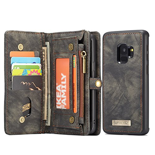 MOONORN Samsung Galaxy S9 Plus Wallet Case - Detachable Leather Phone Wallet Magnetic Flip Case Shockproof Cell Phone Case with Credit Card Slots (Black)