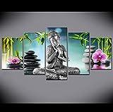 wuzhaodi Peintures d'art Toile Peinture Affiche 5 Pièces Bouddha Toile Mur Art Peinture pour Lit Chambre Décor Moderne Bouddha orchidée Bambou Eau Zen Imprimer Image