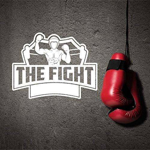 Zdklfm69 Adhesivos Pared Pegatinas de Pared Boxer Sticker Silhouette The Fight Sports Sticker Boxeo Gimnasio Arte de la Pared Decoración 72x57cm