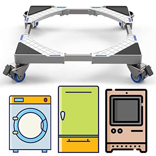 DEWEL Podeste & Rahmen für Waschmaschinen mit Schwenkräder, Verstellbare Kühlschrank Sockel Untergestell mit für Trockner, Waschmaschine und Kühlschrank(44-69cm)