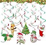 Liuer Cinta Navidad Colgando remolinos Guirnalda de Techo serpentinas para conciertos,Bodas,Bebés Infantiles Niños Cumpleaños Fiesta Decoración Suministros(A)