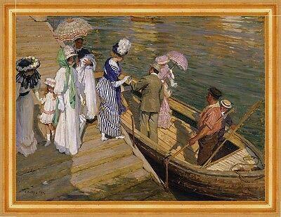 Kunstdruck The Ferry Dominic Serres Fähre Adel Sonnenschirm Boot Wasser B A3 01425 Gerahmt
