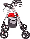 MobiQuip Mobility Walker, 4 Wheeled Rollator with Seat and Basket, Lightweight Folding Mobility Aid.