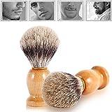 Cepillo de afeitar, herramientas de afeitar para el cabello facial Herramienta de cosméticos Mango de madera Essentials para hombres Faux Badger Hair Barber Beauty Tool Perfecto para el hogar