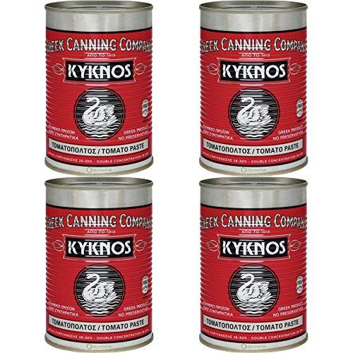 KYKNOS S.A. Greek Canning - Pasta de tomate triple concentrado (32%, 4 unidades, 410 g)