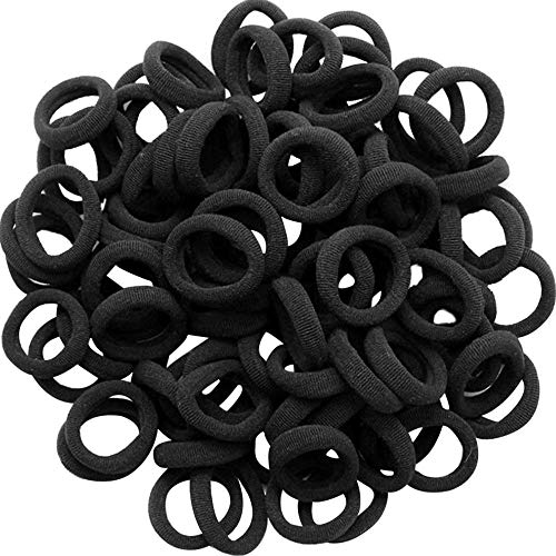 300PCS Black Hair Ties for Baby Girls, Cotton Seamless Non Pull Elastic Hair Bands No Crease Ponytail Holders for Kids Girls, Toddlers (Diameter in 0.78 Inch)