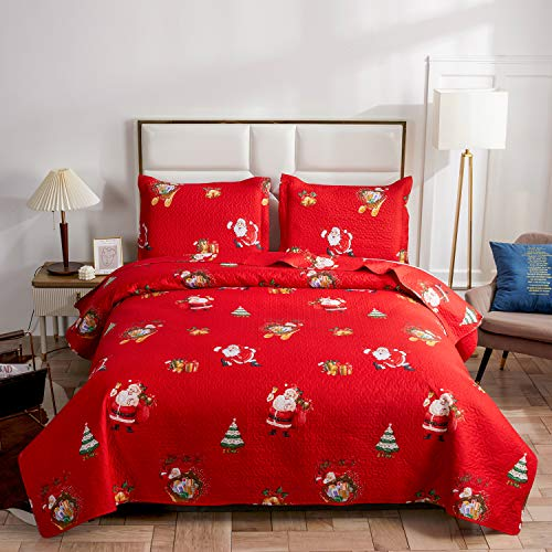 Christmas Quilt Set King Size Lightweight Snowman Bedspread Coverlet Santa Clause Christmas Tree Bedding Cover Bed Set Gift for Kids Girls Adults,1 Quilt ,2 Pillow Shams