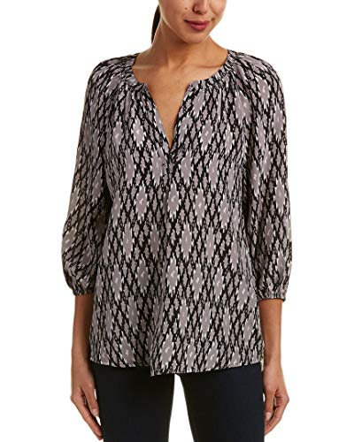Joie Addie B Ikat Printed 3/4 Sleeve Silk Blouse, Caviar (Small)