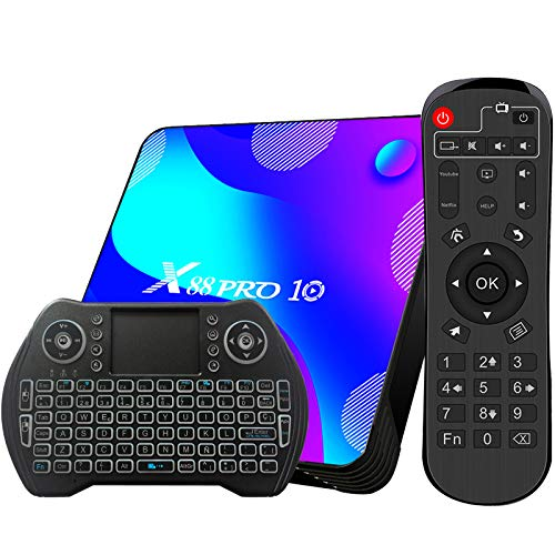 TV Box Android 10 4GB RAM 32GB ROM Compatible con 4K 3D RK3318 Dual-WiFi 2.4g / 5g Smart TV Box con Mini Teclado