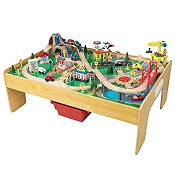 KidKraft Adventure Town Railway Wooden Train Set & Table with EZ Kraft Assembly with 120 Accessories and Storage Bins Gift for Ages 3+