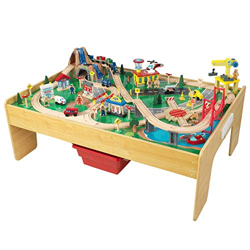 KidKraft Adventure Town Railway Train Set & Table with EZ Kraft Assembly, Natural, 43.5' x 31' x...