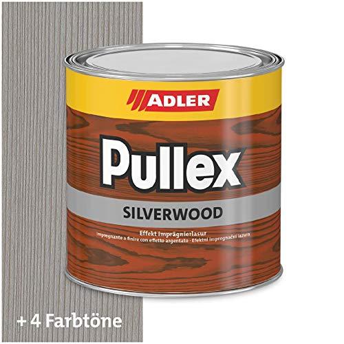 ADLER Pullex Silverwood - Effekt Imprägnierlasur & Holz Grundierung - Farbige Holzlasur Außen als effektiver Wetterschutz mit speziellen Metalleffektcharakter - Holzschutzlasur Farbe: Silber 750 ml