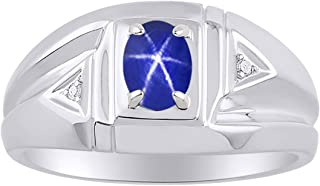 RYLOS Mens Ring with Oval Shape Gemstone & Genuine Sparkling Diamonds in Sterling Silver .925 With Satin Finish - 7X5MM Color Stone