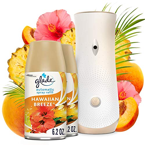 Glade Automatic Spray Refill and Holder Kit, Air Freshener for Home and Bathroom, Hawaiian Breeze, 6.2 Oz, Pack of 2 Refills