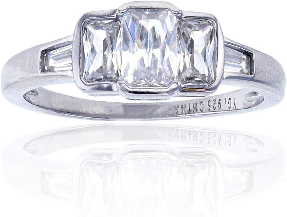 Sterling Silver Rhodium Three-Stone Emerald Cut Anniversary Ring