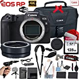 Canon EOS RP 26.2MP Full-Frame Mirrorless Digital Camera (Body Only) with EF-S-Mount Lens to RF-Mount Adapter + 128GB Memory, Canon 100-Es Case, Shoulder Strap, Gripster Tripod, Hand Grip and More.
