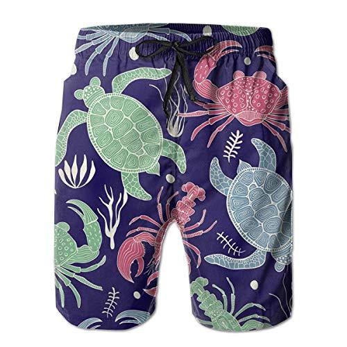 Men's Swim Trunks Colourful Pattern with Turtles Crabs Ocean Theme Animal Surfing Beach Board Shorts Swimwear XXL