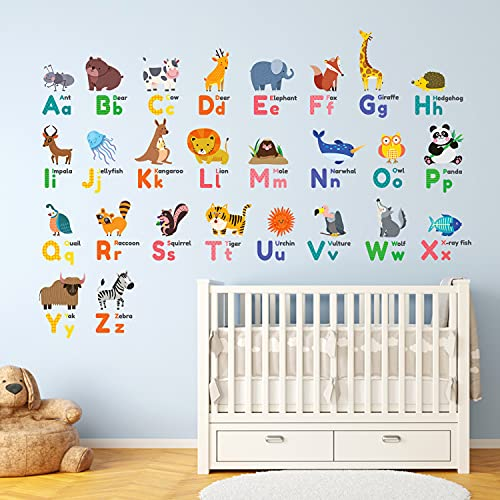 DECOWALL DW-1614 Colourful Animal Alphabet ABC Kids Wall Stickers Wall Decals Peel and Stick Removable Wall Stickers for Kids Nursery Bedroom Living Room décor