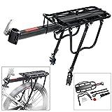 Bicycle Rear Rack Bike Luggage Cargo Rack 110 Lbs Capacity Adjustable Aluminum Alloy