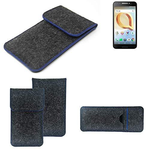 K-S-Trade Filz Schutz Hülle Für Alcatel A30 Plus Schutzhülle Filztasche Pouch Tasche Hülle Sleeve Handyhülle Filzhülle Dunkelgrau, Blauer Rand