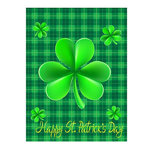 """Happy St Patrick's Day Green Shamrock Clovers Leaf Lucky Double Sided Garden Yard Flag 12"""" x 18"""", Irish Leprechaun Gold Pot Coin Rainbow Horseshoe Beers Decorative Garden Flag Banner for Outdoor Home"""