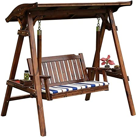 WANYI 67 Inch Log Swing Stand Porch Swing Set Wood Bench Swing Stand A-Frame Patio Furniture Swing Chair Outdoor Rustic Curved Garden Swing Yard Play