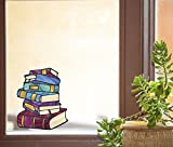 Books - Stack of Books - Library - Stained Glass Style See-Through Vinyl Window Decal - Yadda-Yadda Design Co. (Size Choices) (Med 5'w x 6'h)