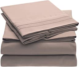 Brils-ri Premium Bed Sheets Luxury Resort Hotel 1800 Collection Sheet Sets Percale Microfiber Fabric Linen Deep Pocket Soft Cooling Non-Wrinkle Dryer Safe Fade Resistance Queen Beige