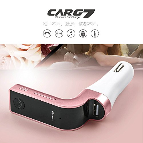 CARG7 Bluetooth Car Kit FM Transmitter MP3 Music Player SD USB Charger for iPhone Samsung Table PC - Rose Gold