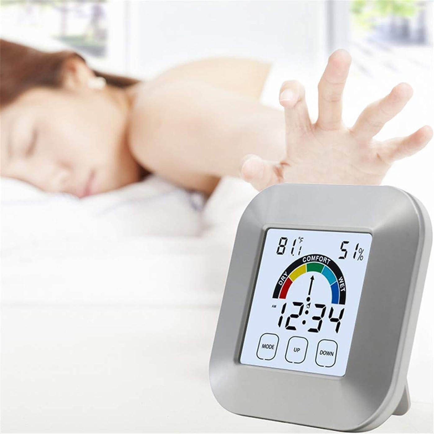 スリンクエンディング映画デジタル湿度計室内温度計 インドア タッチ エレクトロニクス 天気時計 コンフォート インストラクション 温度計