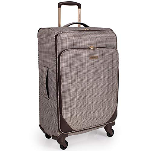London Fog 32 Inch Suitcase with x4 Spinner Wheels - Soft Shell Luggage Drag Handle   95L Litre 80 cm   Camberley LFL003 (Large)