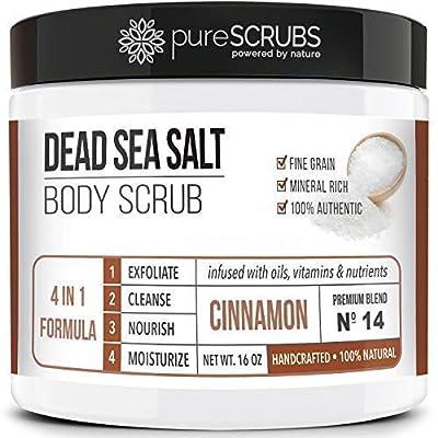 pureSCRUBS Premium Organic Body Scrub Set - Large 16oz Body Scrub - Pure Dead Sea Salt Infused With Organic Essential Oils & Nutrients + Wooden Stirring Spoon + Loofah + Organic Exfoliating
