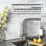 Mizzo Edelstahl Wasserhahn Küche Ausziehbar – 100% Edelstahl Mischbatterie - 3
